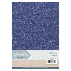 Card Deco Essentials Glitter Paper Dark Blue CDEGP013