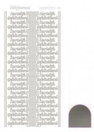 Hobby dots sticker Hartelijk Gefeliciteerd mirror Zilver STDMHG08