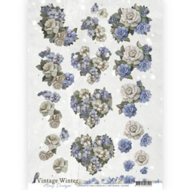 3D knipvel - Amy Design - Vintage winter - Winter Flowers CD10985