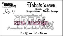 Crealies tekststans - een meisje (NL) CLTS09 / 6x18 mm 10x30mm 115634/3109