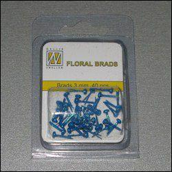 40st Floral Glitter Brads 3 mm sapphire