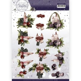 3D Cutting Sheet - Precious Marieke - The Best Christmas Ever - Purple Flowers And Candles CD11679
