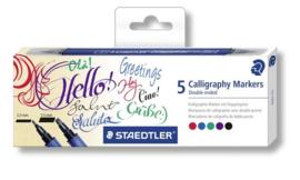 Kalligrafie duo 5 delige markerset.