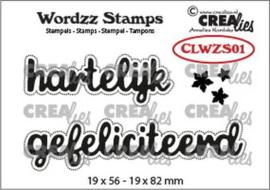 Crealies Clearstamp Wordzz Hartelijk gefeliciteerd (NL) CLWZS01 19x82 mm