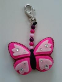 Sleutelhanger vlinder roze