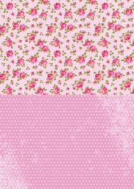 Doublesided background sheets A4 pink roses NEVA008