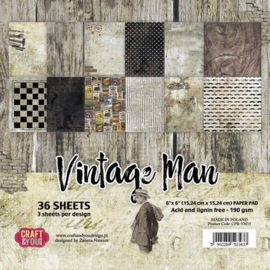 Craft&You Vintage Man Small Paper Pad 6x6 36 vel CPB-VM15
