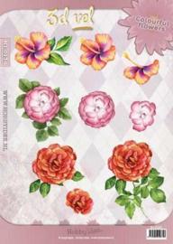 3D vel Bloemen Hobbyidee Colourful flowers HI-0136
