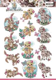 3D cutting sheet - Yvonne Creations - Kitschy Lala - Kitschy Baby Animals CD11435