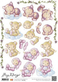 3D A4 Knipvel Amy Designs Treebies babywolkjes - CD10283
