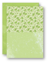 Doublesided background sheets A4 green roses NEVA028