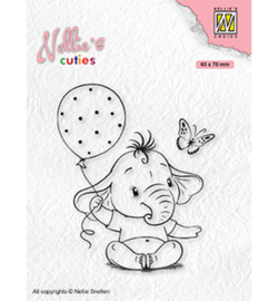Nellie clearstamp NCCS007 - Baby elephant with balloon