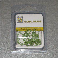40st Floral Glitter Brads 3 mm green