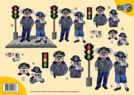 3D A4 Knipvel Creddy politie met stoplicht CW10009