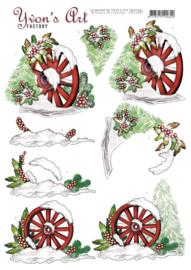 3D Cutting Sheet - Yvon's Art - Christmas Wagonwheel CD11697