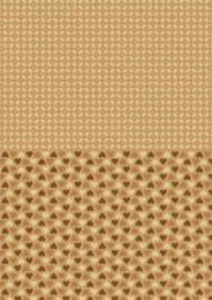 Doublesided background sheets A4 brown hearts NEVA001