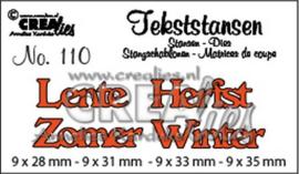 Crealies Tekststans no 110 lente/zomer/herfst/winter (NL) CLTS110 9x28 mm - 9x35 mm