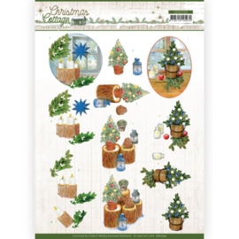 3D Cutting Sheet - Jeanine's Art - Christmas Cottage - Blue Decorations CD11723