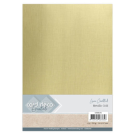 Card Deco Essentials - Metallic Linnenkarton - Metallic Gold  CDEML002