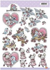 3D A4 Knipvel Yvonne Bird and Mouse - CD10171
