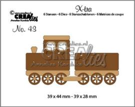 Crealies X-tra no. 43 Trein + wagon (klein) CLX-tra43 39x44mm - 39x28mm