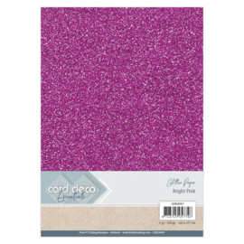 Card Deco Essentials Glitter Paper Bright Pink CDEGP007