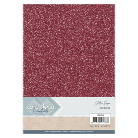 Card Deco Essentials Glitter Paper Bordeaux CDEGP016