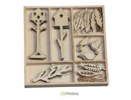 CraftEmotions Houten ornament Botanical Summer - vogel&huisje 55 pcs - box 10,5 x 10,5 cm 811500/0171