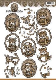 3D Knipvel - Yvonne Creations - Sepia Bosdieren CD10778