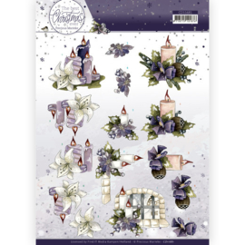 3D Cutting Sheet - Precious Marieke - The Best Christmas Ever - Red Apples and Candles CD11681