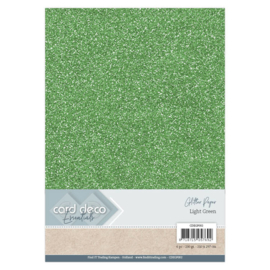 Card Deco Essentials Glitter Paper Light Green CDEGP002