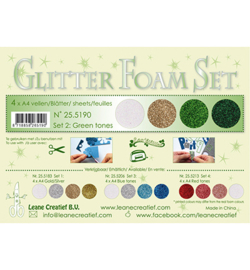 Glitter foam Set 2, 4 different glitter foam sheets green /gold /silver colours 25.5190