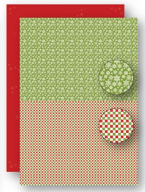 Background sheets doublesided Christmas green snowflakes NEVA069
