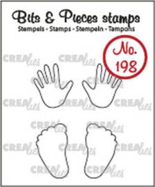 Crealies Clearstamp Bits&Pieces Baby handjes + voetjes (omlijning) CLBP198 max. 12x20mm
