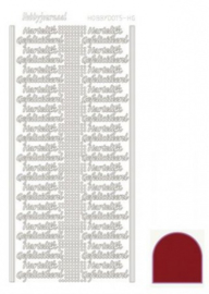 Hobby dots sticker Hartelijk Gefeliciteerd mirror Red STDMHG04