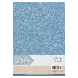 Card Deco Essentials Glitter Paper Bright Blue CDEGP012
