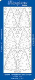 Staform 7071 Kerstbomen 4 transparant glitter zilver