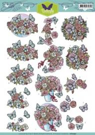 3D Knipvel - Yvonne Creations - Butterfly - Flowers CD10740