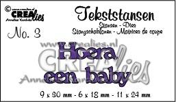 Crealies tekststans - Hoera een baby (NL) CLTS03 / 9x30 6x18 11x24 mm 115634/3103