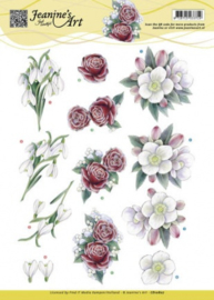 3D Knipvel - Jeanines Art - Winterbloemen CD10807