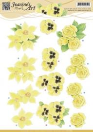 3D Knipvel - Jeanines Art - Gele bloemen CD10685