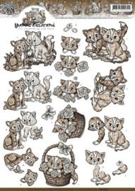 3D Knipvel - Yvonne Creations - Bruine Katjes CD10627