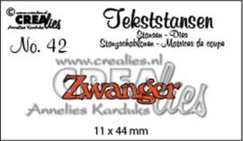 Crealies Tekststans no 42 Zwanger (NL) 11 x 44 mm / CLTS42 115634/3142
