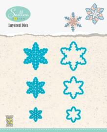 Nellies Choice Layered Die - sneeuwvlokken 01 LDSF001 30x34/23x26/16x18mm
