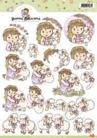 3D Knipvel Yvonne Creations - CD10143 Sheep hugs