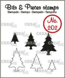Crealies Clearstamp Bits&Pieces Boompjes (dicht en omlijning) CLBP202 max. 14x20mm