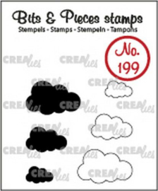 Crealies Clearstamp Bits&Pieces Wolkjes (dicht en omlijning) CLBP199 max. 19x12mm