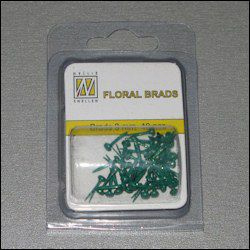 40st Floral Glitter Brads 3 mm bottle green