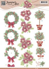 3D Knipvel - Jeanines Art - Rode kerstbloemen 2 CD10799