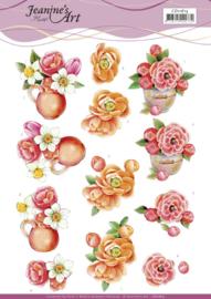 3D Cutting Sheet - Jeanine's Art - Orange Flowers CD11615